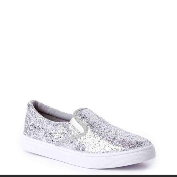 3d24099fc8aa Silver sparkly slip on shoes